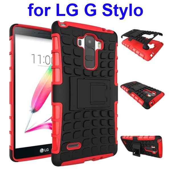 2 in 1 Silicone and Hard Protective Hybrid Case Cover for LG G Stylo with Holder (Red)