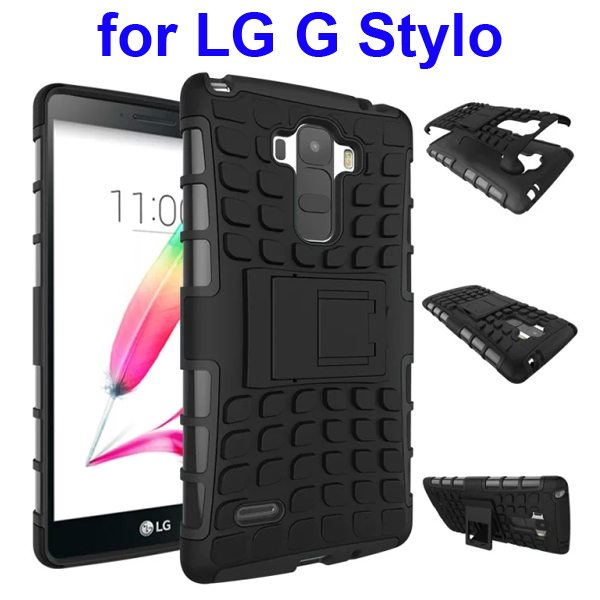 2 in 1 Silicone and Hard Protective Hybrid Case Cover for LG G Stylo with Holder (Black)