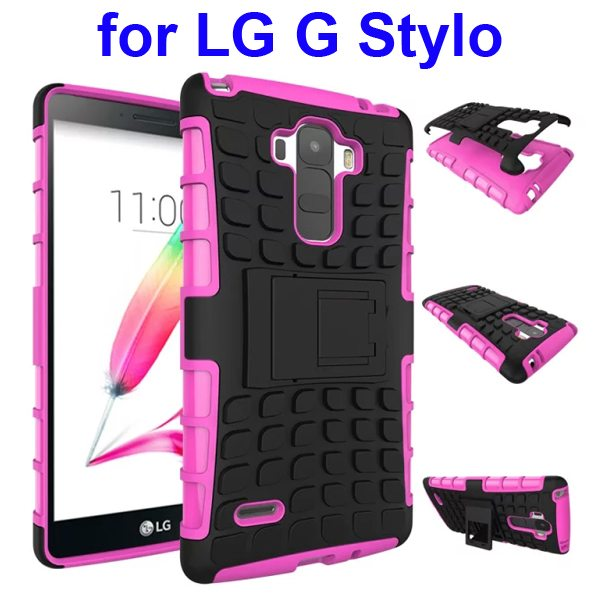 2 in 1 Silicone and Hard Protective Hybrid Case Cover for LG G Stylo with Holder (Pink)