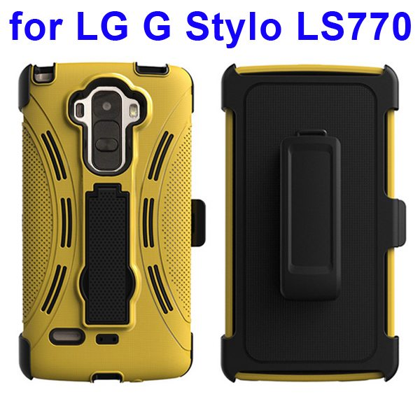 4-in-1 Screen Protector Built-in Hybrid Style PC + TPU Protective Kickstand Case for LG G Stylo LS770 (Yellow)