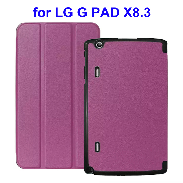 Karst Texture 3 Folding Flip Stand Leather Tablet Case for LG G Pad X8.3 (Purple)