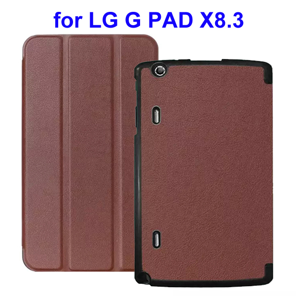 Karst Texture 3 Folding Flip Stand Leather Tablet Case for LG G Pad X8.3 (Brown)