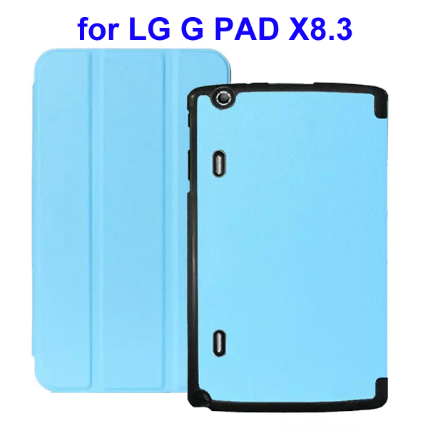 Karst Texture 3 Folding Flip Stand Leather Tablet Case for LG G Pad X8.3 (Light Blue)