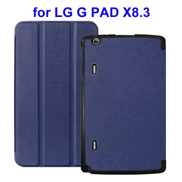 Karst Texture 3 Folding Flip Stand Leather Tablet Case for LG G Pad X8.3 (Dark Blue)