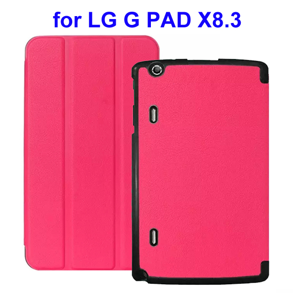 Karst Texture 3 Folding Flip Stand Leather Tablet Case for LG G Pad X8.3 (Rose)