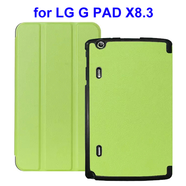 Karst Texture 3 Folding Flip Stand Leather Tablet Case for LG G Pad X8.3 (Green)