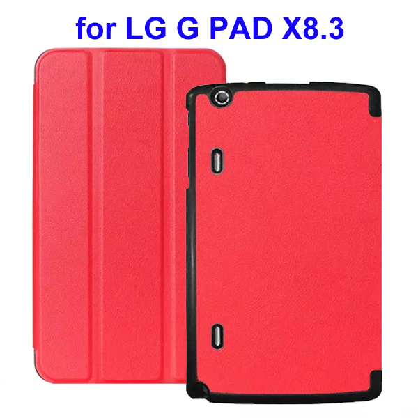 Karst Texture 3 Folding Flip Stand Leather Tablet Case for LG G Pad X8.3 (Red)