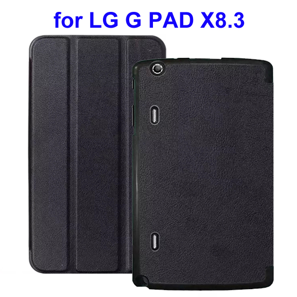 Karst Texture 3 Folding Flip Stand Leather Tablet Case for LG G Pad X8.3 (Black)
