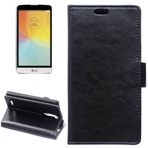 Crazy Horse Texture Horizontal Flip Solid Color Magnetic Buckle Leather Case for LG L Bello (Black)