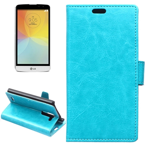 Crazy Horse Texture Horizontal Flip Solid Color Magnetic Buckle Leather Case for LG L Bello (Blue)