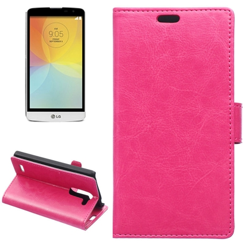 Crazy Horse Texture Horizontal Flip Solid Color Magnetic Buckle Leather Case for LG L Bello (Rose)
