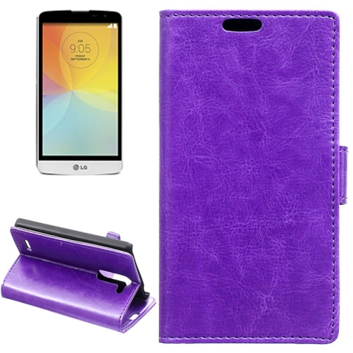 Crazy Horse Texture Horizontal Flip Solid Color Magnetic Buckle Leather Case for LG L Bello (Purple)