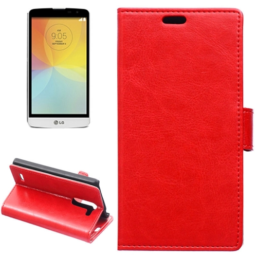 Crazy Horse Texture Horizontal Flip Solid Color Magnetic Buckle Leather Case for LG L Bello (Red)