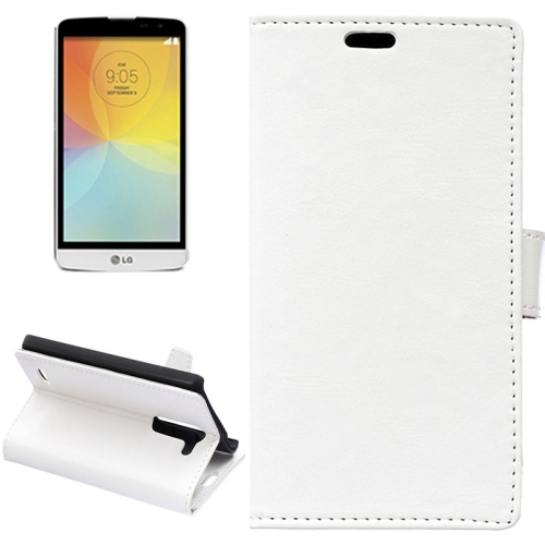 Crazy Horse Texture Horizontal Flip Solid Color Magnetic Buckle Leather Case for LG L Bello (White)