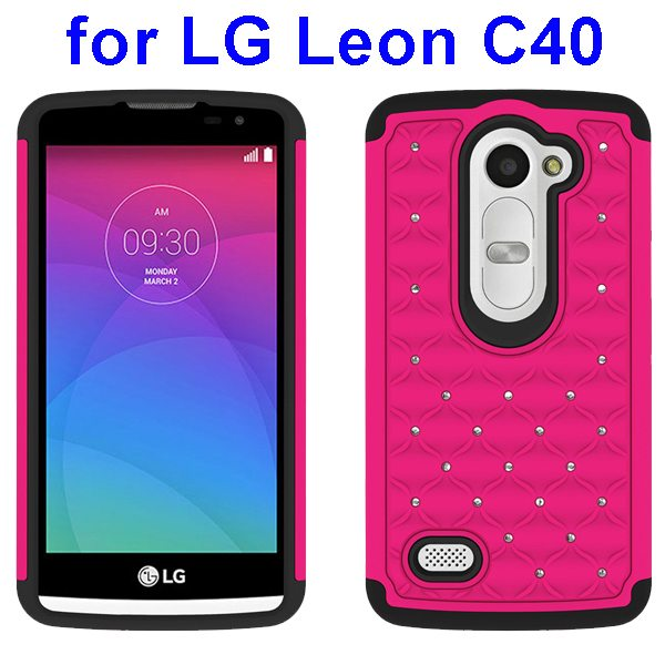 Bling Bling Diamond Studded Silicone and PC Shockproof Hybrid Case for LG Leon C40 (Magenta)