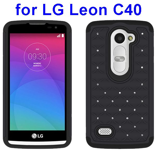 Bling Bling Diamond Studded Silicone and PC Shockproof Hybrid Case for LG Leon C40 (Grey)