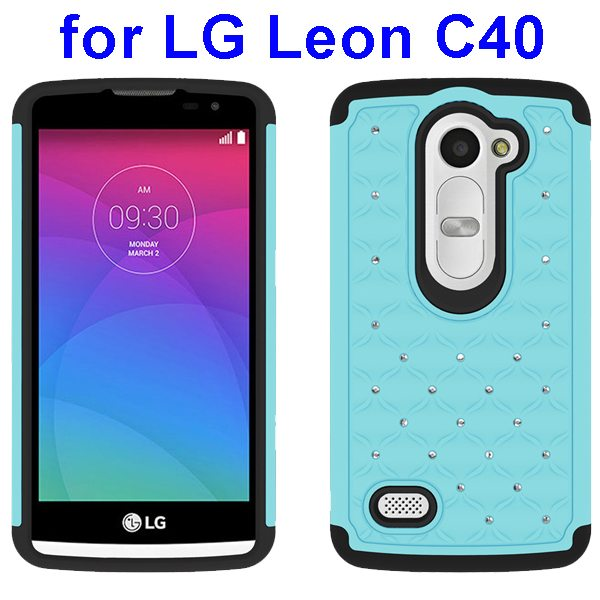 Bling Bling Diamond Studded Silicone and PC Shockproof Hybrid Case for LG Leon C40 (Light Blue)