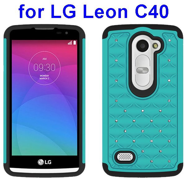 Bling Bling Diamond Studded Silicone and PC Shockproof Hybrid Case for LG Leon C40 (Cyan)