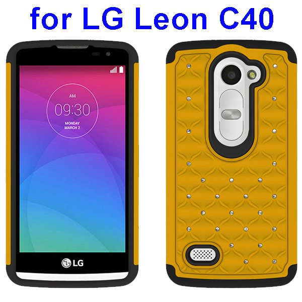 Bling Bling Diamond Studded Silicone and PC Shockproof Hybrid Case for LG Leon C40 (Yellow)