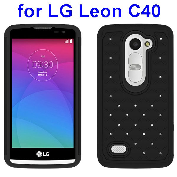 Bling Bling Diamond Studded Silicone and PC Shockproof Hybrid Case for LG Leon C40 (Black)