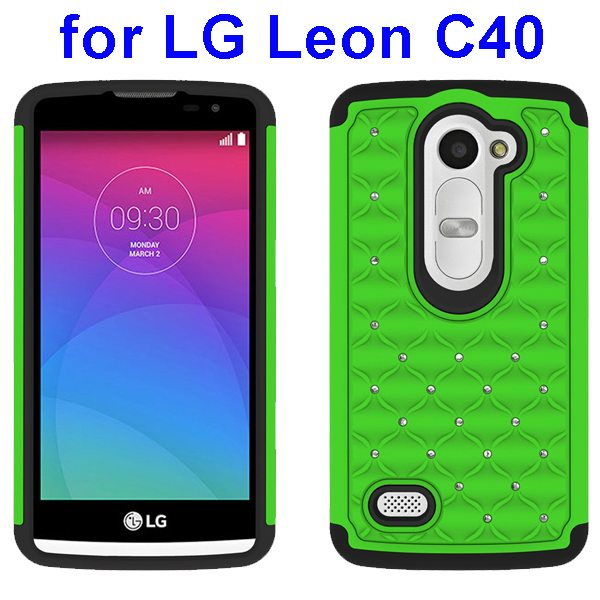 Bling Bling Diamond Studded Silicone and PC Shockproof Hybrid Case for LG Leon C40 (Green)