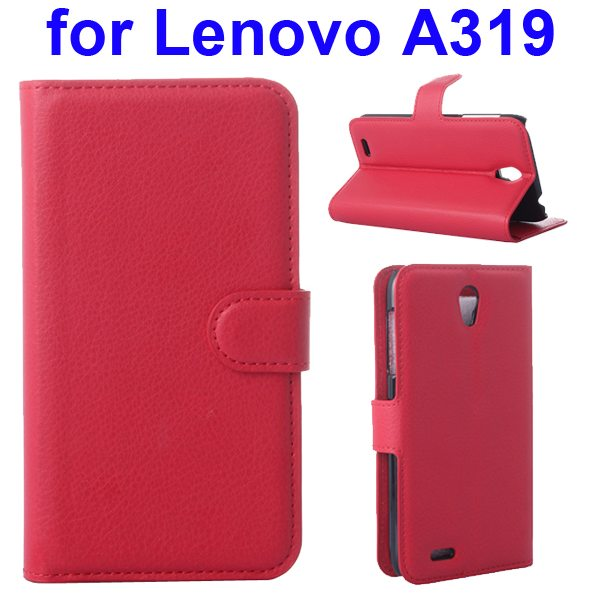 Litchi Texture Magnetic Wallet Case Cover for Lenovo A319 with Holder (Red)