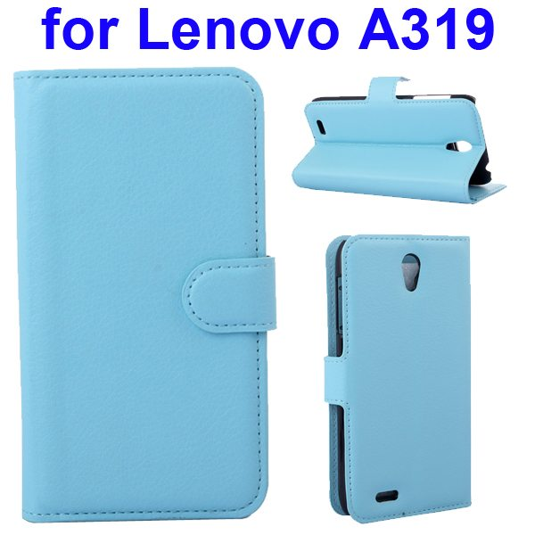 Litchi Texture Magnetic Wallet Case Cover for Lenovo A319 with Holder (Baby Blue)