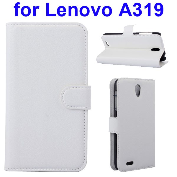 Litchi Texture Magnetic Wallet Case Cover for Lenovo A319 with Holder (White)