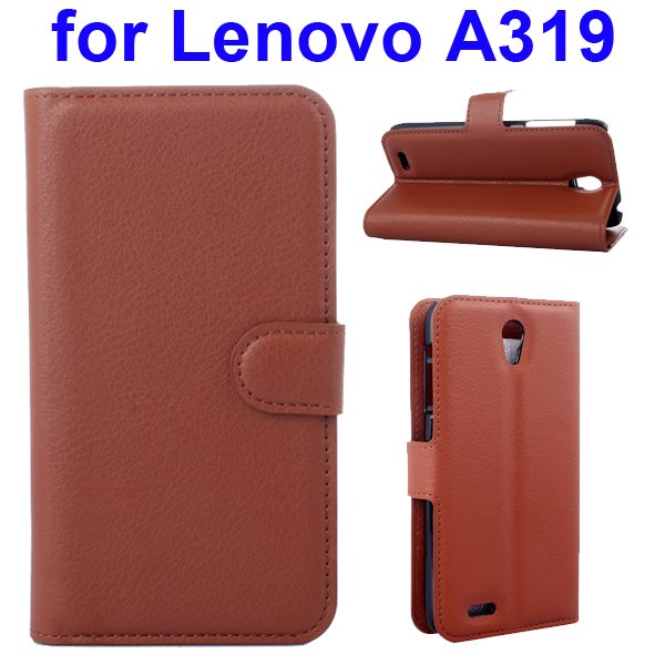 Litchi Texture Magnetic Wallet Case Cover for Lenovo A319 with Holder (Brown)