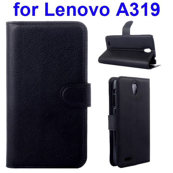Litchi Texture Magnetic Wallet Case Cover for Lenovo A319 with Holder (Black)