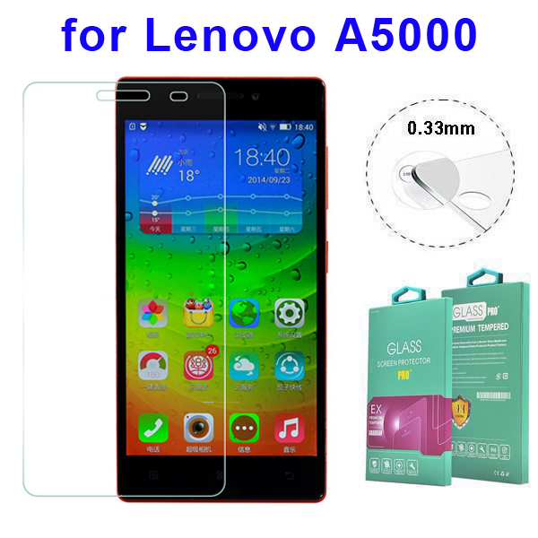 Protective 0.33mm 2.5D Curved Edge Tempered Glass Screen Protector for Lenovo A5000