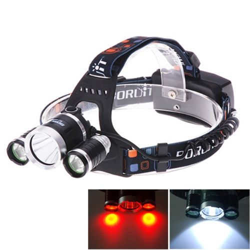 3 x CREE XM-L T6 & Q5 Blue and White Light 4 Mode 5000LM Rechargeable LED Headlight (Red)