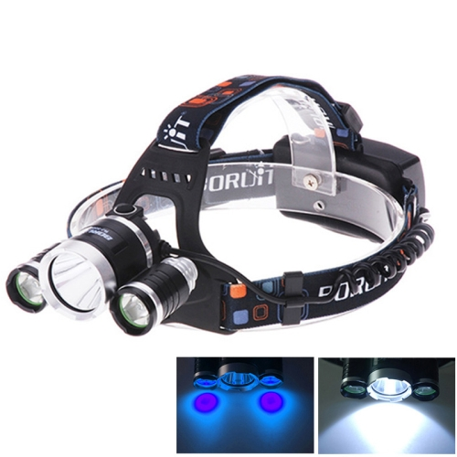 3 x CREE XM-L T6 & Q5 Blue and White Light 4 Mode 5000LM Rechargeable LED Headlight (Blue)