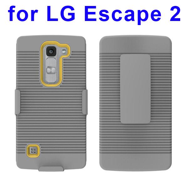 Shockproof Belt Clip Holster Backup Hybrid Case For LG Escape 2 (Yellow)