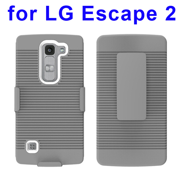 Shockproof Belt Clip Holster Backup Hybrid Case For LG Escape 2 (White)