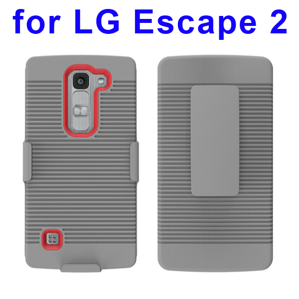 Shockproof Belt Clip Holster Backup Hybrid Case For LG Escape 2 (Red)