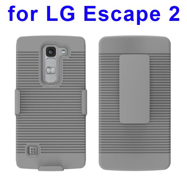 Shockproof Belt Clip Holster Backup Hybrid Case For LG Escape 2 (Silver)