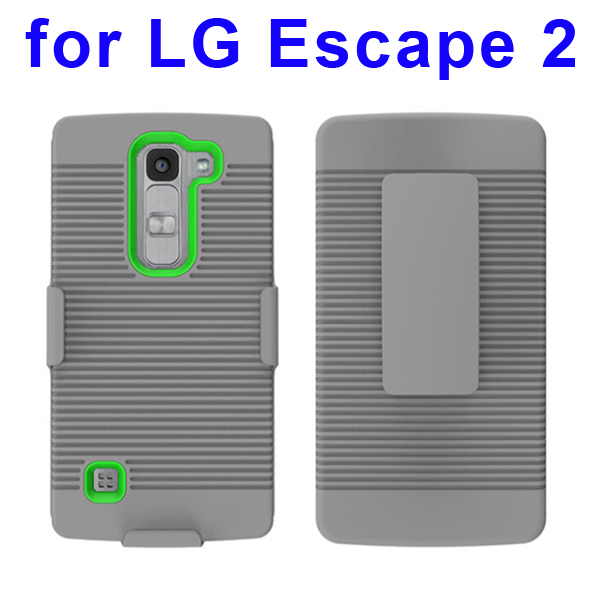 Shockproof Belt Clip Holster Backup Hybrid Case For LG Escape 2 (Green)