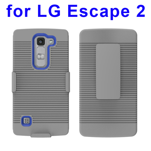 Shockproof Belt Clip Holster Backup Hybrid Case For LG Escape 2 (Blue)