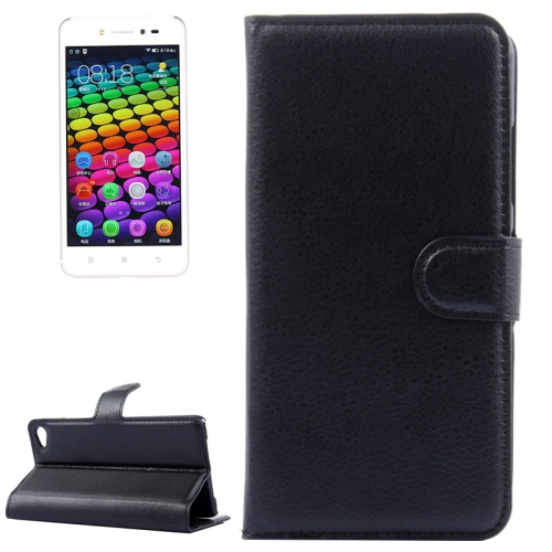 Solid Color Design Flip Leather Case for Lenovo S90 with Card Slots and Stand (Black)