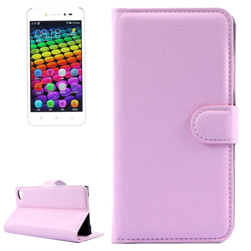Solid Color Design Flip Leather Case for Lenovo S90 with Card Slots and Stand (Pink)