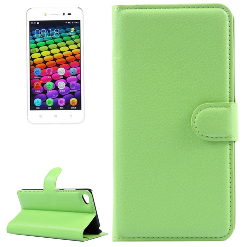 Solid Color Design Flip Leather Case for Lenovo S90 with Card Slots and Stand (Green)