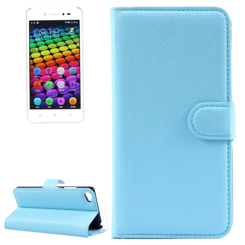 Solid Color Design Flip Leather Case for Lenovo S90 with Card Slots and Stand (Blue)