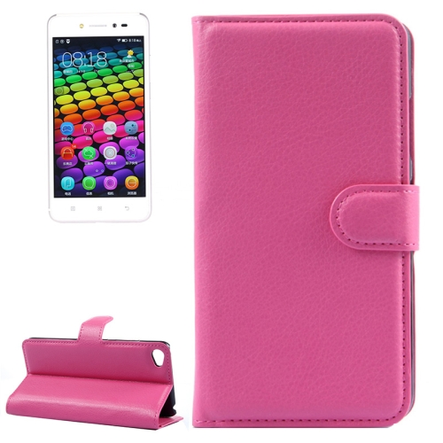 Solid Color Design Flip Leather Case for Lenovo S90 with Card Slots and Stand (Rose)