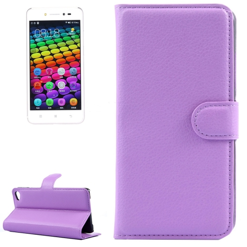 Solid Color Design Flip Leather Case for Lenovo S90 with Card Slots and Stand (Purple)