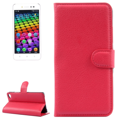 Solid Color Design Flip Leather Case for Lenovo S90 with Card Slots and Stand (Red)