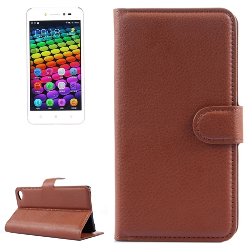Solid Color Design Flip Leather Case for Lenovo S90 with Card Slots and Stand (Brown)