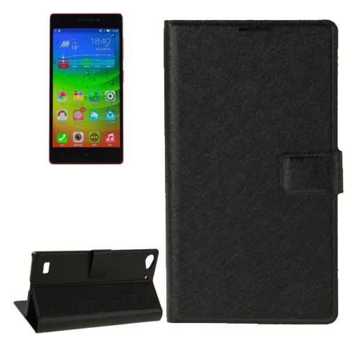 Silk Texture Horizontal Flip Leather Case for Lenovo Vibe X2 with Card Slot & Holder (Black)