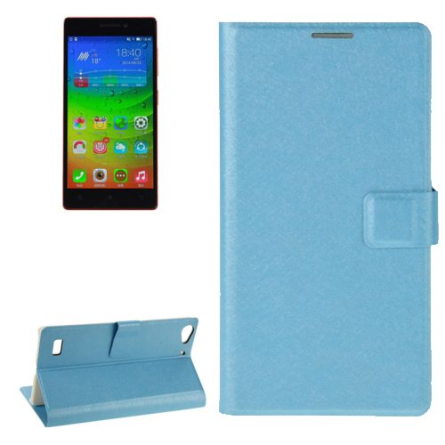 Silk Texture Horizontal Flip Leather Case for Lenovo Vibe X2 with Card Slot & Holder (Blue)