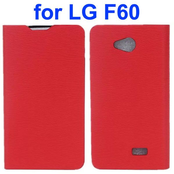Wood Texture PU Leather Flip Case for LG F60 (Red)